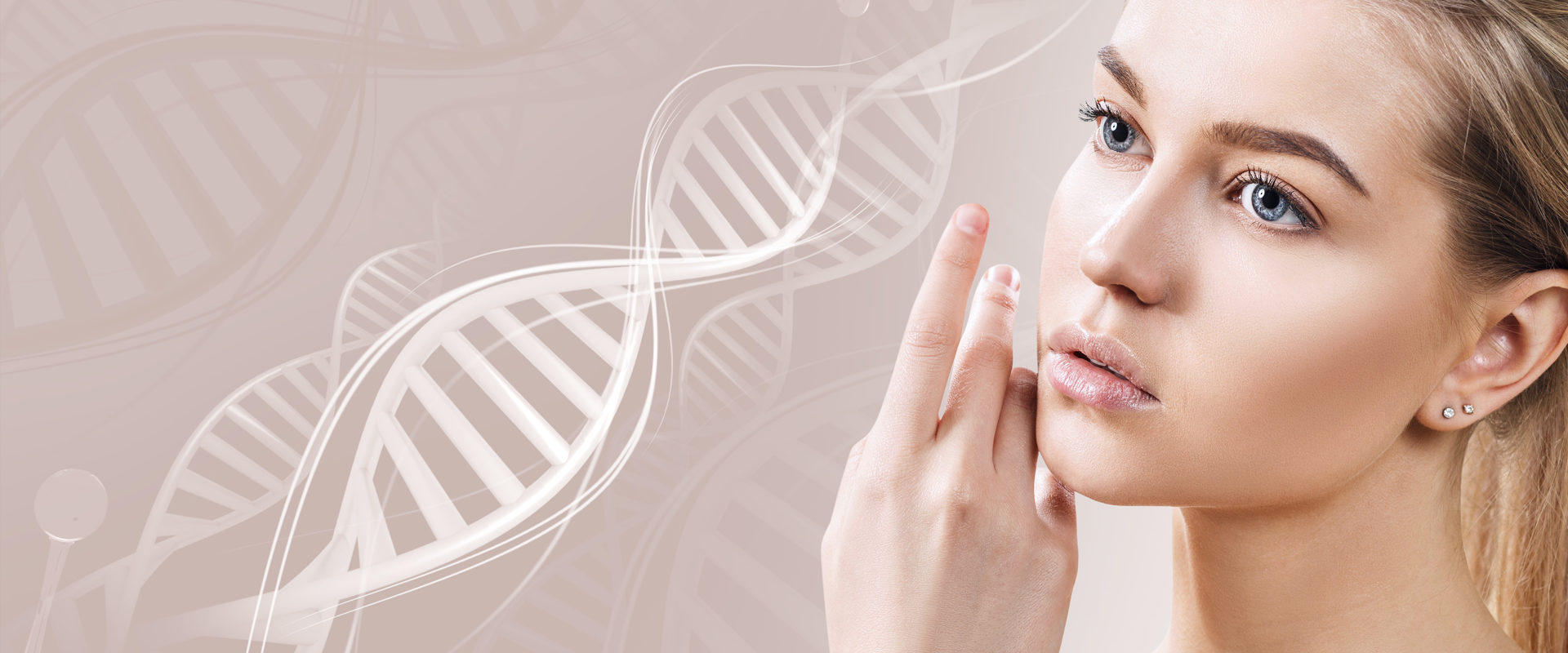 Portret kobiety z helisą DNA w tle