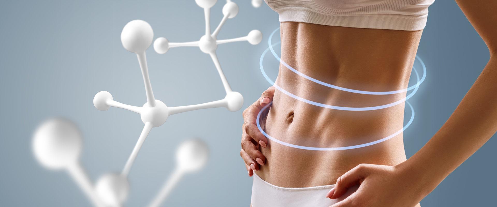 Szczupłe ciało kobiety z molekułami w tle